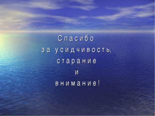 C п а с и б о з а у с и д ч и в о с т ь, с т а р а н и е и в н и м а н и е !