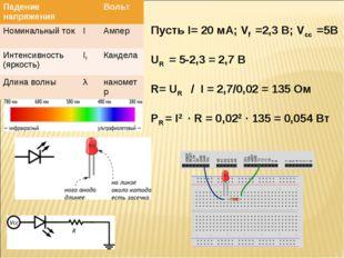 Пусть I= 20 мА; Vf =2,3 В; Vcc =5В UR = 5-2,3 = 2,7 В R= UR / I = 2,7/0,02 =