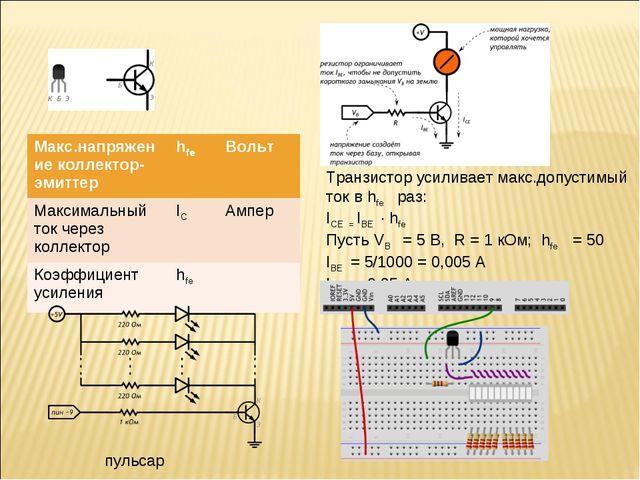Транзистор усиливает макс.допустимый ток в hfe раз: ICE = IBE · hfe Пусть VB...