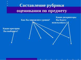 Составление рубрики оценивания по предмету Какие критерии Вы выберите? Как В