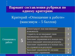 Вариант составления рубрики по одному критерию Критерий «Отношение к работе»
