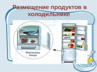 Размещение продуктов в холодильнике