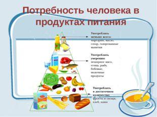 Потребность человека в продуктах питания