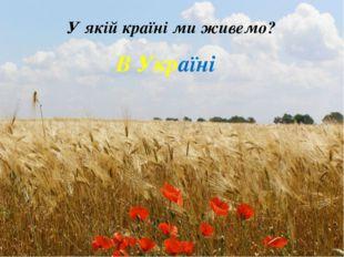 У якій країні ми живемо? В Україні