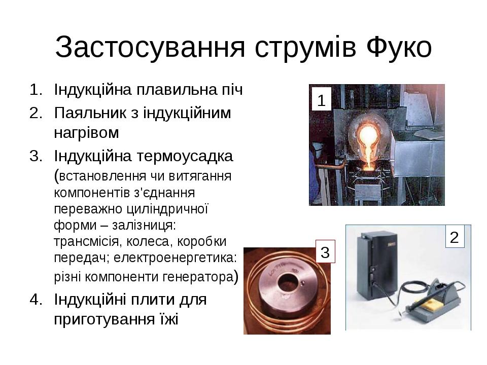 Застосування струмів Фуко Індукційна плавильна піч Паяльник з індукційним наг...