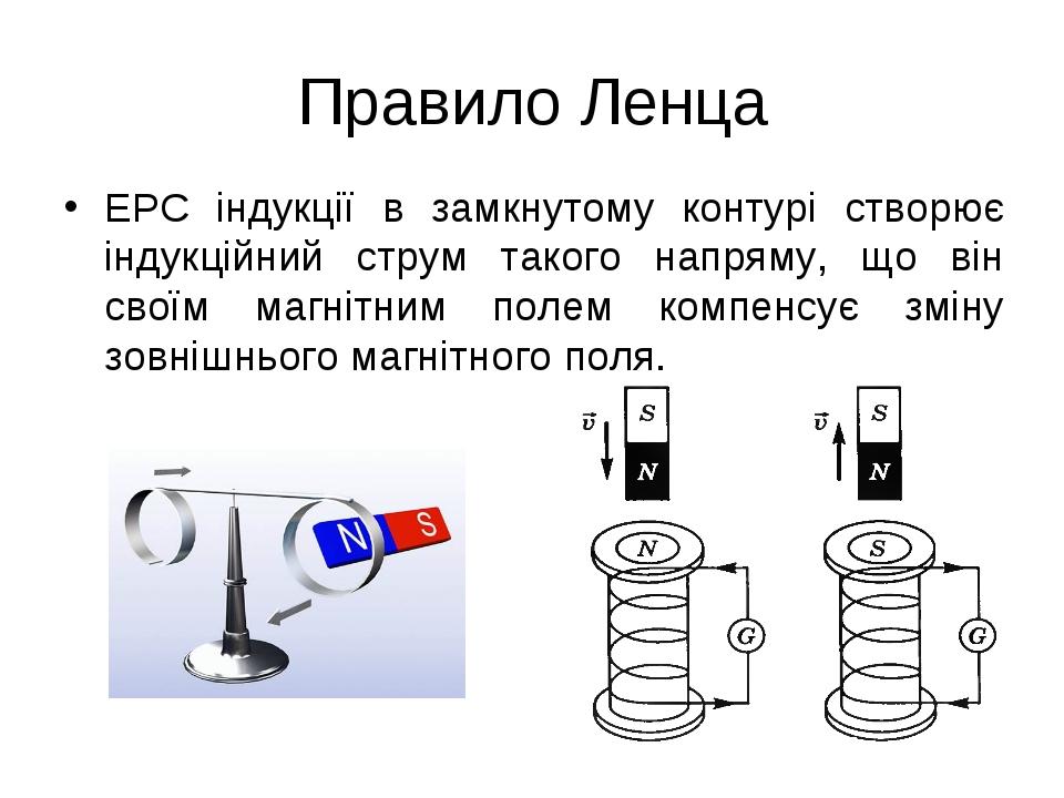 Правило Ленца ЕРС індукції в замкнутому контурі створює індукційний струм так...