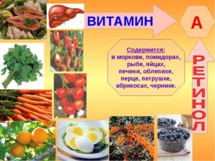 ВИТАМИН A Содержится: в моркови, помидорах, рыбе, яйцах, печени, облепихе, пе