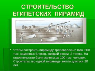 СТРОИТЕЛЬСТВО ЕГИПЕТСКИХ ПИРАМИД Чтобы построить пирамиду требовалось 2 млн.
