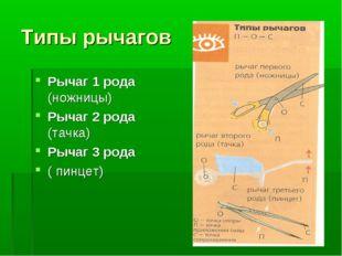 Типы рычагов Рычаг 1 рода (ножницы) Рычаг 2 рода (тачка) Рычаг 3 рода ( пинцет)