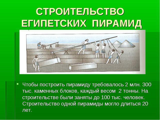 СТРОИТЕЛЬСТВО ЕГИПЕТСКИХ ПИРАМИД Чтобы построить пирамиду требовалось 2 млн....
