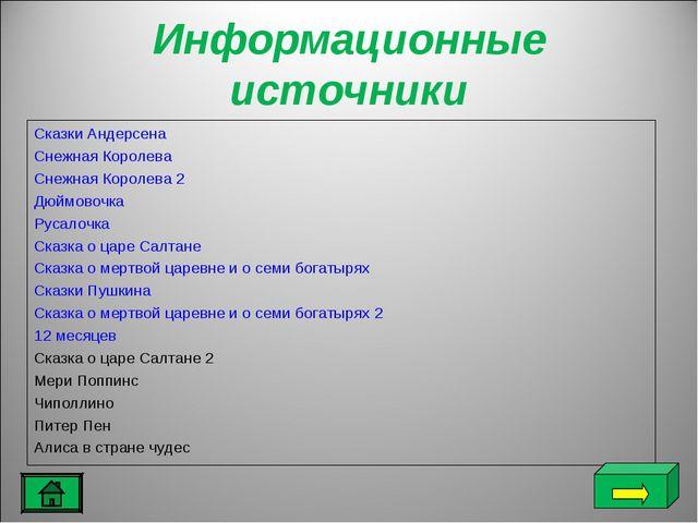 Информационные источники Сказки Андерсена Снежная Королева Снежная Королева 2...
