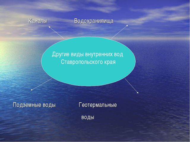 Каналы Водохранилища Подземные воды Геотермальные воды Другие виды внутренни...