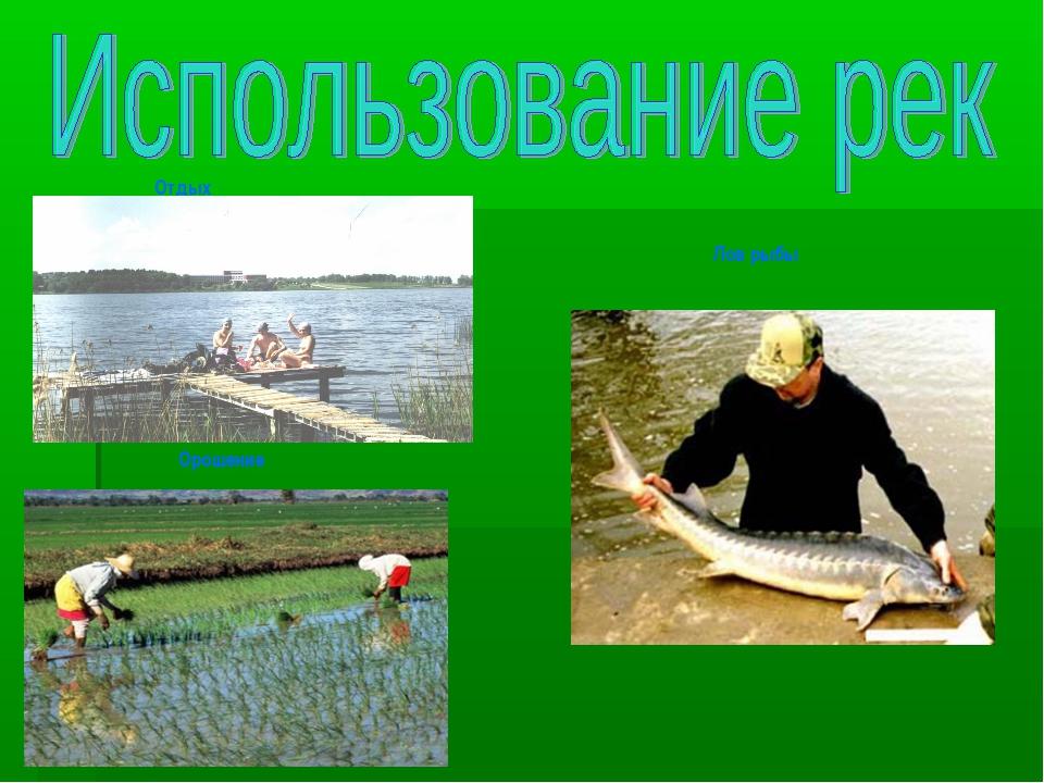 Орошение Лов рыбы Отдых