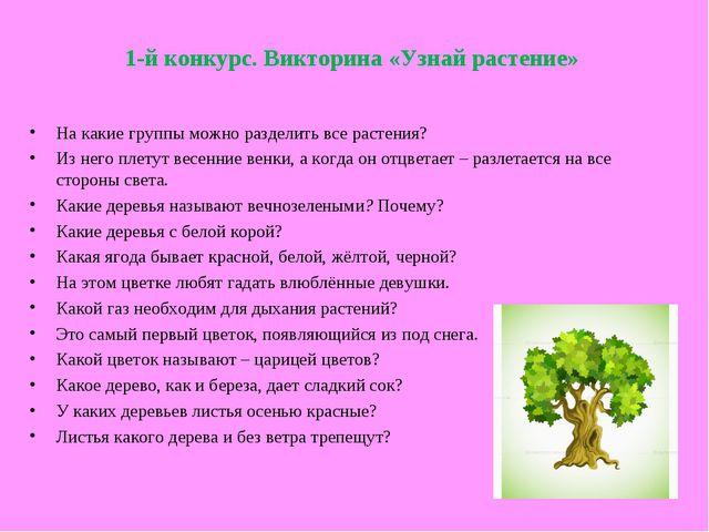 1-й конкурс. Викторина «Узнай растение» На какие группы можно разделить все р...