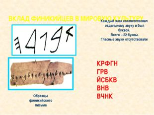 ВКЛАД ФИНИКИЙЦЕВ В МИРОВУЮ КУЛЬТУРУ Образцы финикийского письма Каждый знак с