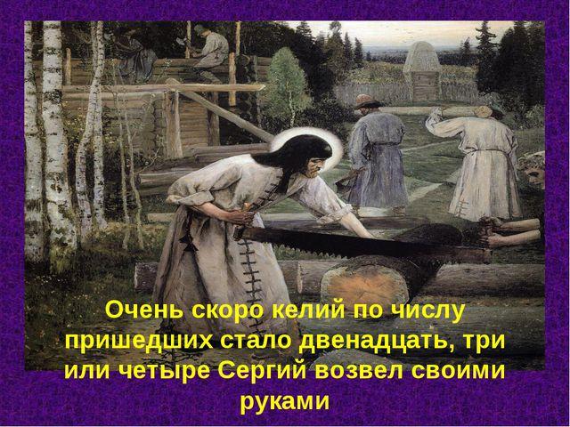 Очень скоро келий по числу пришедших стало двенадцать, три или четыре Сергий...