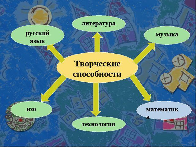 Творческие способности литература музыка русский язык изо технология математика