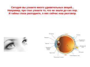 Сегодня вы узнаете много удивительных вещей... Например, про глаз узнаете то,
