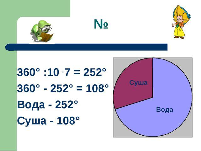 № 360° :10 . 7 = 252° 360° - 252° = 108° Вода - 252° Суша - 108° Вода Суша