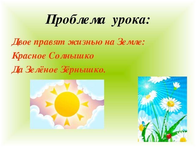 Проблема урока: Двое правят жизнью на Земле: Красное Солнышко Да Зелёное Зёрн...