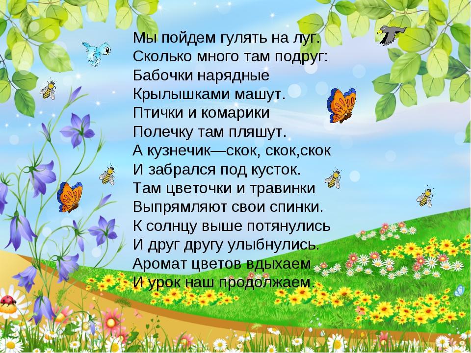 Мы пойдем гулять на луг. Сколько много там подруг: Бабочки нарядные Крылышкам...