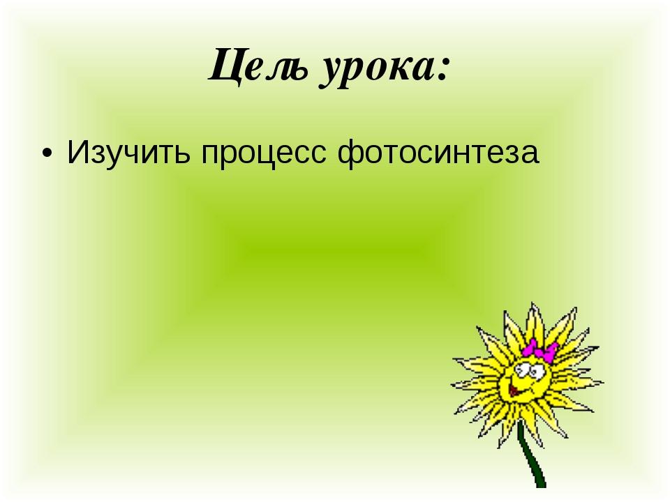 Цель урока: Изучить процесс фотосинтеза