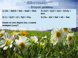Найти ошибку: 1) (2а – 3в2)2= 4а2– 6ав2+ 9в4; 3)(3х2+ 2у)2=2у2+ 12х2у