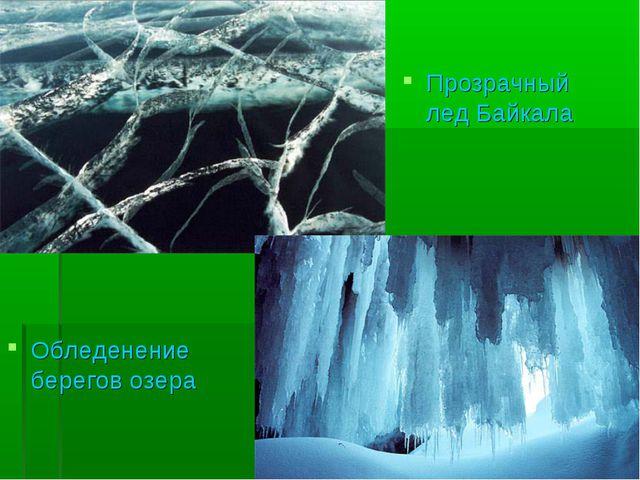 Обледенение берегов озера Прозрачный лед Байкала