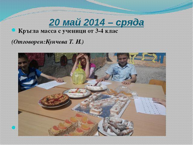 20 май 2014 – сряда Кръгла масса с ученици от 3-4 клас (Отговорен:Кунчева Т....