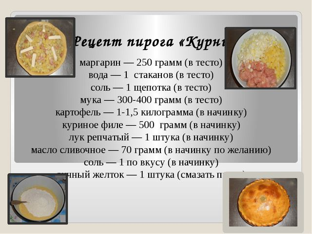 Рецепт пирога «Курник» маргарин — 250 грамм (в тесто) вода — 1 стаканов (в те...