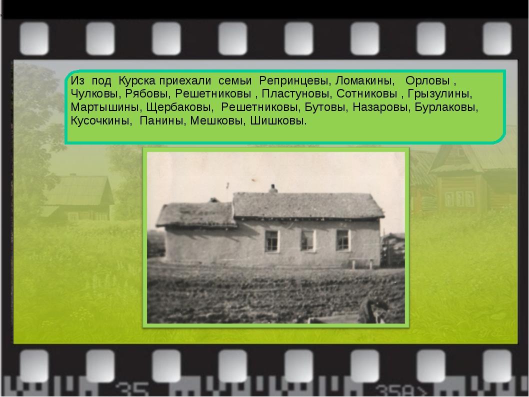 Из под Курска приехали семьи Репринцевы, Ломакины, Орловы , Чулковы, Рябовы,...