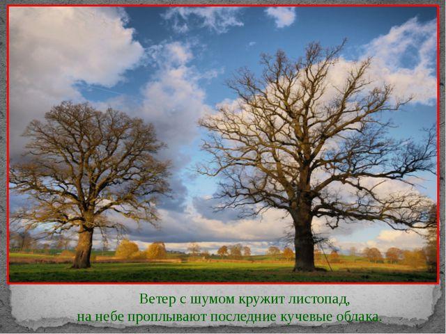 Ветер с шумом кружит листопад, на небе проплывают последние кучевые о...