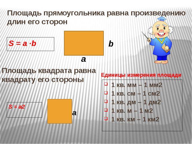 Площадь прямоугольника равна произведению длин его сторон S = a ∙b a b Площад...
