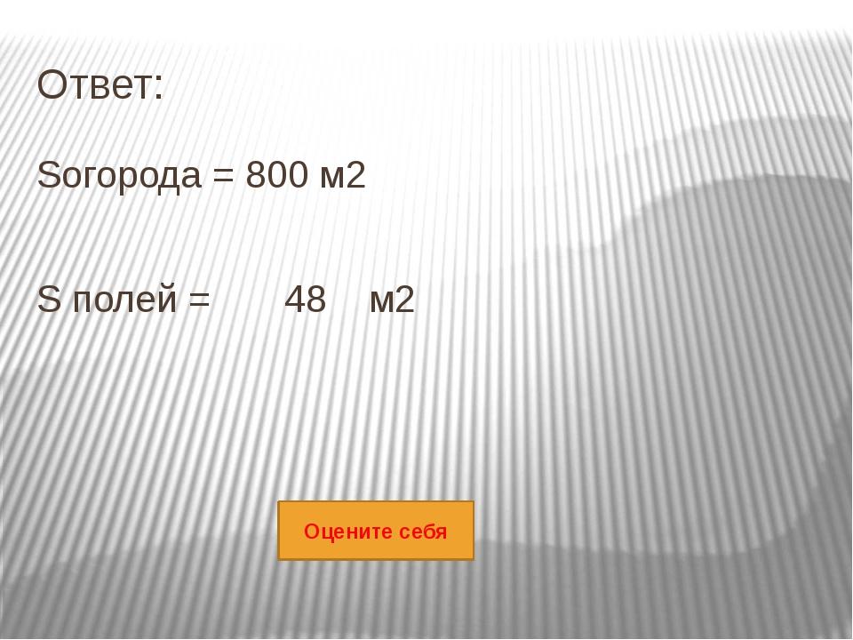 Ответ: Sогорода = 800 м2 S полей = 48 м2 Оцените себя