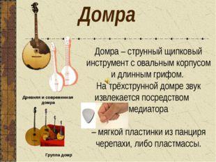 Домра Группа домр Древняя и современная домра Домра – струнный щипковый инстр