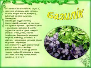 Він багатий вітамінами (С, групи В, каротин), мінеральними солями, містить еф