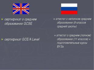 сертификат о среднем образовании GCSE сертификат GCE/A Level = аттестат о неп