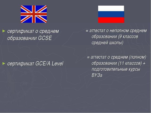 сертификат о среднем образовании GCSE сертификат GCE/A Level = аттестат о неп...