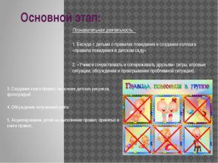 Основной этап: Познавательная деятельность: 1. Беседа с детьми о правилах пов