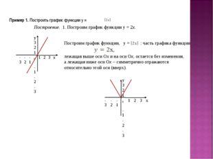 Пример 1. Построить график функции у = Построение. 1. Построим график функции