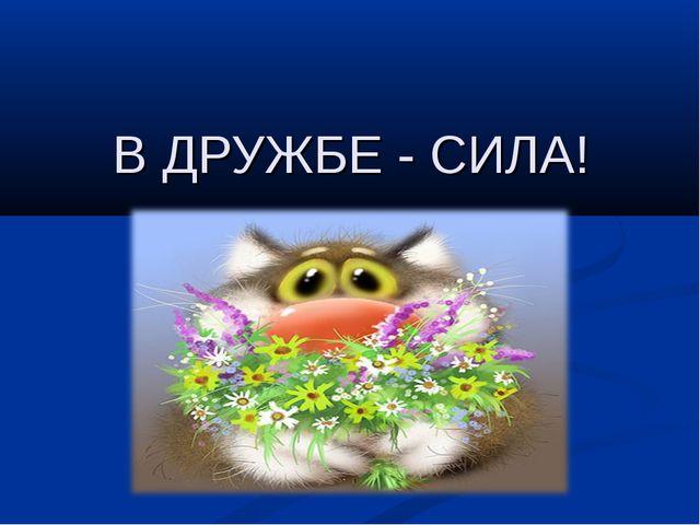 В ДРУЖБЕ - СИЛА!