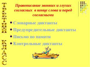 Словарные диктанты Предупредительные диктанты Письмо по памяти Контрольные ди