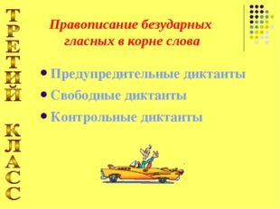 Предупредительные диктанты Свободные диктанты Контрольные диктанты Правописан