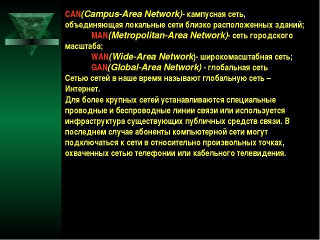 CAN(Campus-Area Network)- кампусная сеть, объединяющая локальные сети близко...