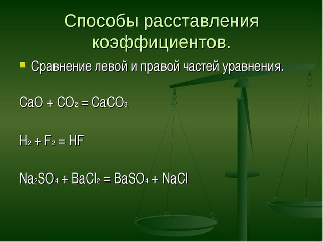 Способы расставления коэффициентов. Сравнение левой и правой частей уравнения...