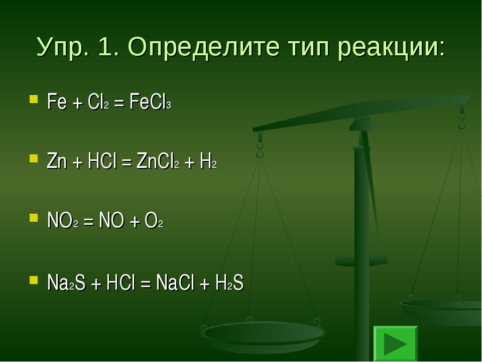Упр. 1. Определите тип реакции: Fe + Cl2 = FeCl3 Zn + HCl = ZnCl2 + H2 NO2 =...