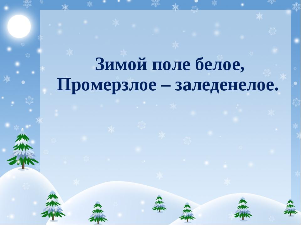 Зимойполебелое, Промерзлое –заледенелое.