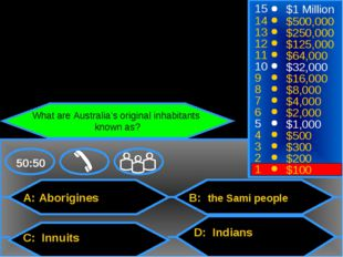 A: Aborigines C: Innuits B: the Sami people D: Indians 50:50 15 14 13 12 11 1