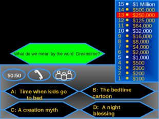 A: Time when kids go 	to bed C: A creation myth B: The bedtime cartoon D: A n