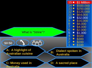 A: A highlight of Australian cuisine C: Money used in Australia B: D: A sacre